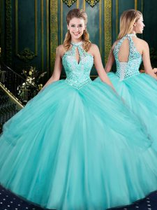 Sleeveless Tulle Floor Length Lace Up Sweet 16 Dress in Aqua Blue with Beading and Pick Ups