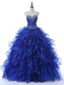Colorful Royal Blue Organza Lace Up Sweetheart Sleeveless Floor Length Sweet 16 Quinceanera Dress Beading and Ruffles