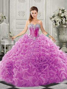 Fantastic Lilac Sleeveless Beading and Ruffles Lace Up 15 Quinceanera Dress