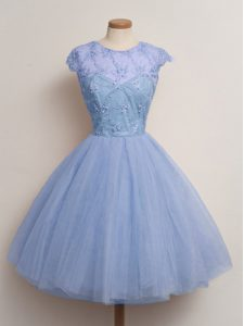 Clearance Ball Gowns Court Dresses for Sweet 16 Blue Scoop Tulle Cap Sleeves Knee Length Lace Up