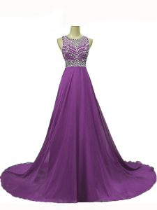 Stylish Eggplant Purple Sleeveless Beading Backless Formal Dresses