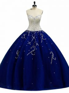 Royal Blue Tulle Lace Up Sweetheart Sleeveless Floor Length 15 Quinceanera Dress Beading