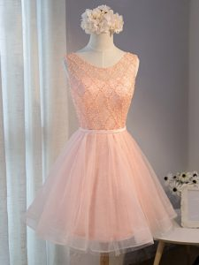 Fashionable Scoop Sleeveless Zipper Homecoming Dress Peach Tulle