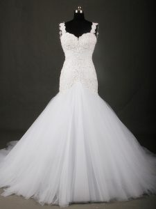 Court Train Mermaid Bridal Gown White Straps Tulle Sleeveless Backless
