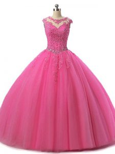 Scoop Sleeveless Tulle Quinceanera Dress Beading and Lace Lace Up