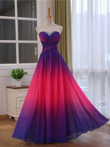 Suitable Multi-color Empire Sweetheart Sleeveless Chiffon and Printed Floor Length Lace Up Beading and Ruching Evening Dresses