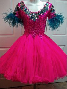 Fuchsia Cocktail Dresses Prom and Party and Military Ball with Beading and Sequins Scoop Short Sleeves Zipper