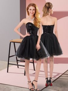 Perfect Black A-line Sweetheart Sleeveless Tulle Mini Length Zipper Sequins Evening Dress