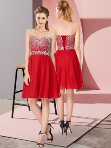 Knee Length Red Homecoming Dress Sweetheart Sleeveless Lace Up