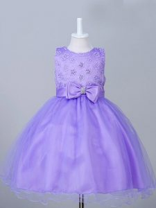 Custom Made Eggplant Purple Scoop Zipper Appliques and Bowknot Little Girls Pageant Dress Sleeveless