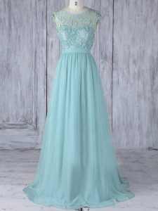 Custom Designed Lace Bridesmaid Dress Aqua Blue Backless Cap Sleeves Sweep Train