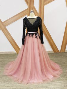 Pink And Black Long Sleeves Tulle Brush Train Zipper Red Carpet Prom Dress for Prom and Party