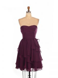 Gorgeous Mini Length Burgundy Quinceanera Court Dresses Sweetheart Sleeveless Zipper