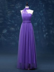 Custom Fit Sleeveless Floor Length Ruching Lace Up Damas Dress with Lavender