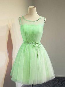 New Arrival Tulle Scoop Sleeveless Lace Up Belt Damas Dress in