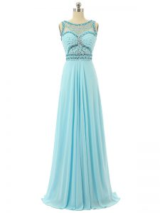 Luxurious Chiffon Sleeveless Floor Length Prom Evening Gown and Beading