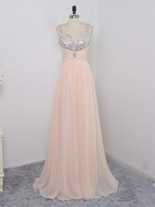 Peach Zipper Prom Dresses Sequins Sleeveless Floor Length