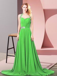 Halter Top Sleeveless Brush Train Zipper Celeb Inspired Gowns Chiffon