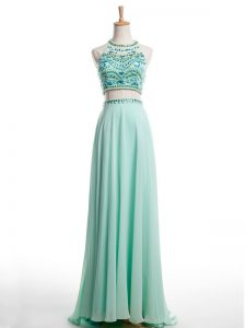 Brush Train Two Pieces Formal Dresses Apple Green Halter Top Chiffon Sleeveless Backless