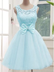 A-line Bridesmaid Dress Aqua Blue Scoop Tulle Sleeveless Knee Length Lace Up