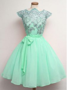 Cap Sleeves Knee Length Lace and Belt Lace Up Quinceanera Court of Honor Dress with Apple Green