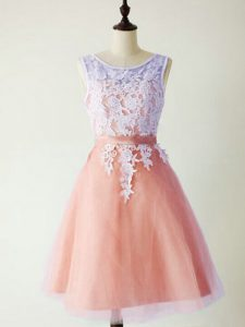 Admirable Scoop Sleeveless Lace Up Dama Dress Peach Tulle