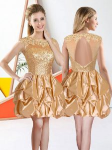 Ideal Champagne Sleeveless Beading and Lace and Ruffles Knee Length Court Dresses for Sweet 16