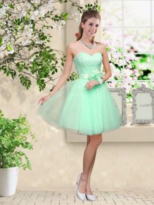 Apple Green Sweetheart Neckline Lace and Belt Wedding Party Dress Sleeveless Lace Up