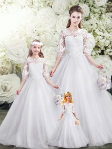 Scoop Half Sleeves Sweet 16 Dress Brush Train Lace White Tulle