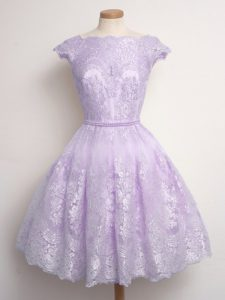 Lace Vestidos de Damas Lavender Lace Up Cap Sleeves Knee Length