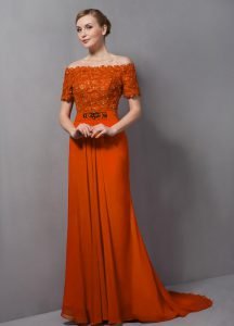 Great Orange Short Sleeves Chiffon Sweep Train Zipper Mother of Bride Dresses for Prom and Party