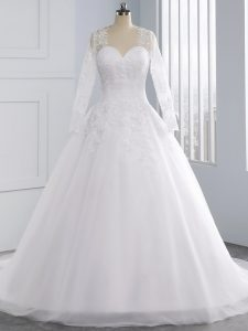 Stylish Sweetheart Sleeveless Wedding Dresses Court Train Appliques White Tulle