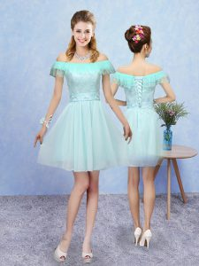 Sumptuous Cap Sleeves Mini Length Lace Lace Up Dama Dress for Quinceanera with Aqua Blue
