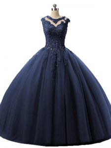 Scoop Sleeveless Lace Up Sweet 16 Quinceanera Dress Navy Blue Tulle