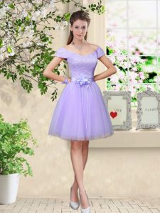 Chic Cap Sleeves Lace Up Knee Length Lace and Belt Quinceanera Court Dresses