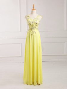 Fine Yellow Empire Lace and Appliques Prom Party Dress Zipper Chiffon Sleeveless