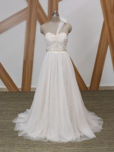 High Class White One Shoulder Neckline Lace and Appliques Wedding Gown Sleeveless Zipper