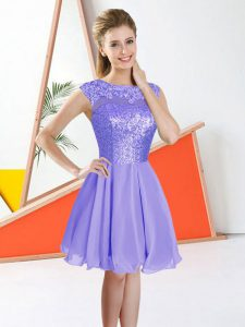 Spectacular Knee Length Lavender Quinceanera Dama Dress Chiffon Sleeveless Beading and Lace