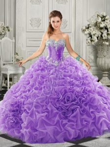 Beautiful Lavender Sleeveless Court Train Beading and Ruffles Sweet 16 Quinceanera Dress