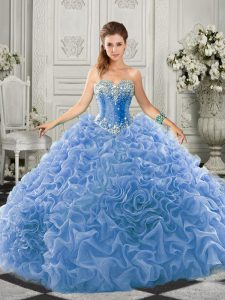 Ideal Sleeveless Organza Court Train Lace Up Quince Ball Gowns in Light Blue with Beading and Ruffles
