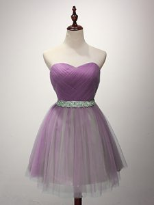 Adorable Tulle Sweetheart Sleeveless Lace Up Ruching Vestidos de Damas in Lilac