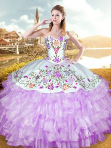 Dramatic Lilac Quinceanera Gowns Military Ball and Sweet 16 and Quinceanera with Embroidery and Ruffled Layers Sweetheart Sleeveless Lace Up