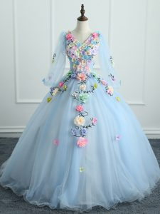 Charming Light Blue Long Sleeves Tulle Lace Up Vestidos de Quinceanera for Military Ball and Sweet 16 and Quinceanera