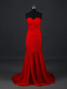Inexpensive Red Prom Evening Gown Sweetheart Sleeveless Brush Train Side Zipper