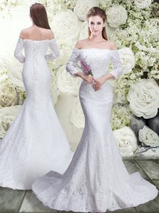 Lace 3 4 Length Sleeve Wedding Dress Brush Train and Lace