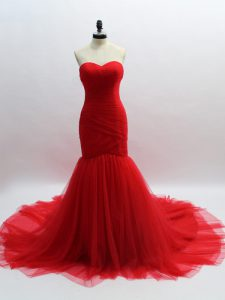 Vintage Red Evening Party Dresses Prom and Sweet 16 with Ruching Sweetheart Sleeveless Brush Train Lace Up