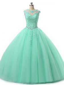 Attractive Apple Green Scoop Neckline Beading and Lace Sweet 16 Dresses Sleeveless Lace Up