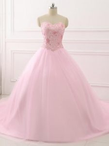 Dynamic Baby Pink Vestidos de Quinceanera Sweetheart Sleeveless Brush Train Lace Up
