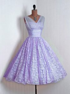 Lavender Lace Up Court Dresses for Sweet 16 Lace Sleeveless Mini Length