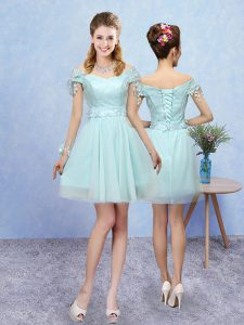 Tulle V-neck Short Sleeves Lace Up Lace Bridesmaid Dress in Aqua Blue